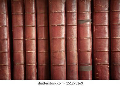 bookcase with many old books in a  library