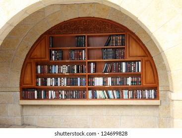 Bookcase and shelves of religious literature at the Western Wall Jerusalem Israel