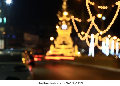 Booker clock tower with on The road at night Chiang-rai city.in-THAILAND.