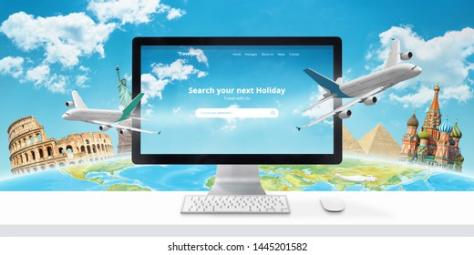 Booking a flight online concept. Traveler search for a destination, and book accommodation and tickets online.