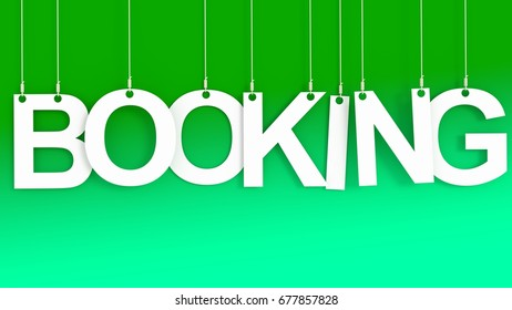 Booking hanging letters over green background 3D rendering