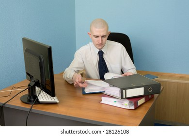 The bookkeeper on a workplace at office