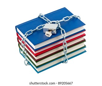 Books in chains closed padlock isolated on white background.
