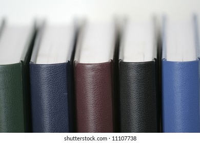 Books close-up view from behind