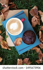 books and cup of coffee with chocolate Muffins on grass. fall and relax