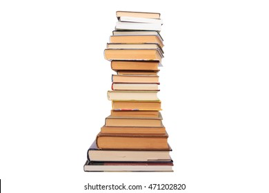 books of different sizes stacked on a white background