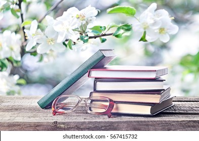 Books and eyeglasses outdoors on natural spring or summertime background. Pile of books, glasses in nature. Return to spring or summer time. Invitation to study literatures