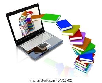 Books fly into laptop
