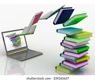 Books fly into your laptop. 3d render illustration