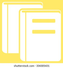 Books glyph icon. Style is flat symbol, white color, rounded angles, yellow background.