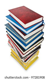 Books in high stack isolated on white