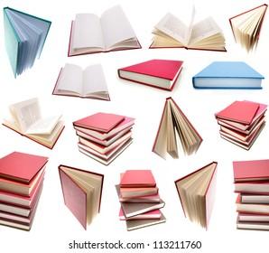 Books isolated on plain background.