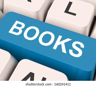 Books Key On Keyboard Meaning Novel Journal Or Magazine