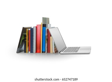 Books and laptop on white background, Clipping path included