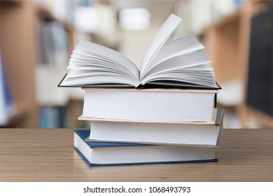 Books in library on desk