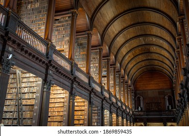 Books in the Long Room Library, Trinity College Dublin Ireland