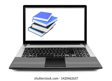 Books and notebook isolated against white background