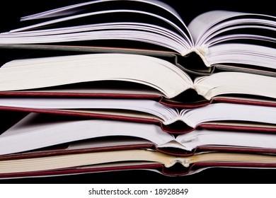 books on black background