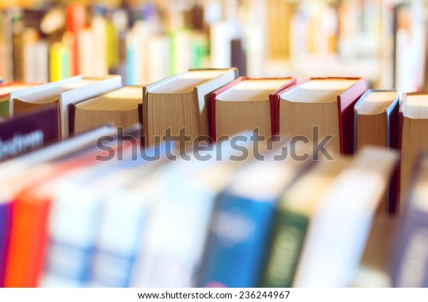 Books on a bookshelf in a library