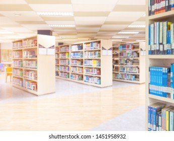 books on bookshelf in public library,  abstract blur defocused background