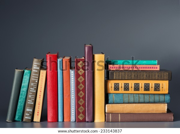 Books on a dark background