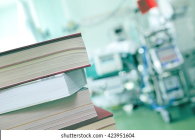 Books on the hospital background.