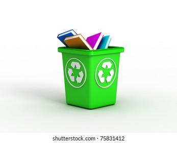 Books on recycle bin