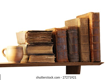 Books on a regiment on a white background