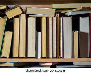 The books are on the shelf. Close-up. Background for libraries, science, education.
