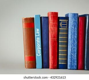 Books on shelf,  Corporate Law concept