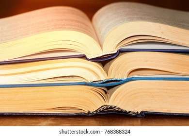 The books on the table