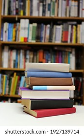 Books on the table in library