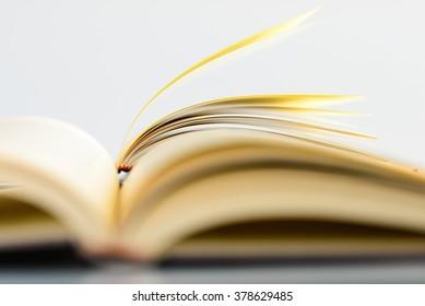 Books on white background
