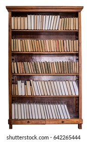 Books on wooden shelves in the library. Education background
