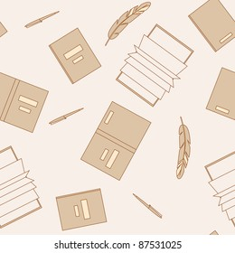 Books and pens in beige color gamma. Seamless pattern