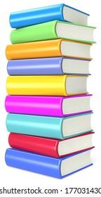 Books. Pile of Colorful Books.