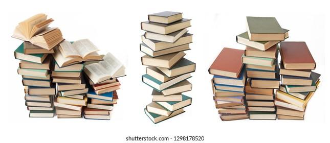 books pile isolated on white background set