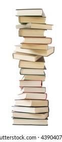 Books pile isolated on white background