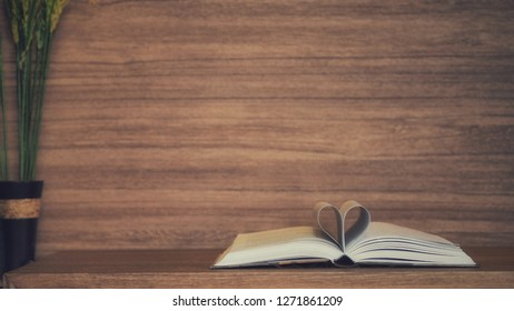 Books placed on wooden floors.