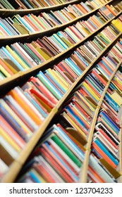 Books in round library shelf