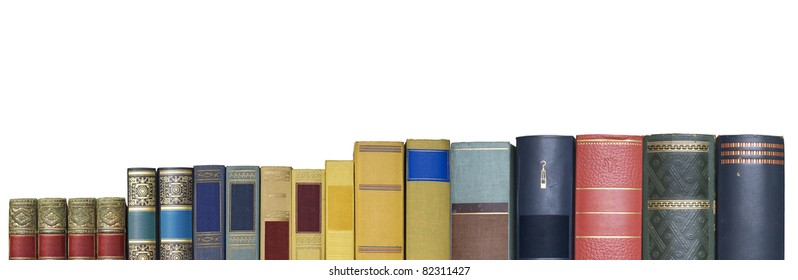 books in a row, banner, isolated on white background,empty labels with free copy space
