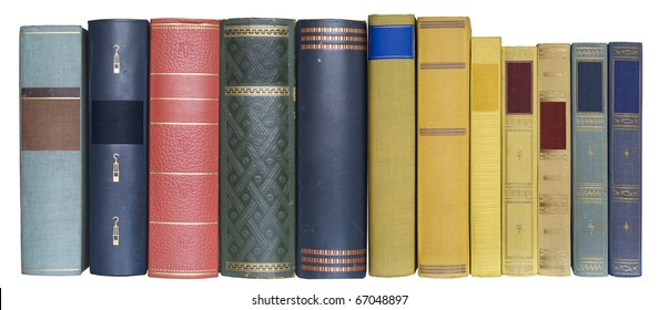 books in a row, isolated on white background,blank labels with free copy space