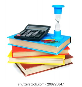 Books and school tools. On a white background.