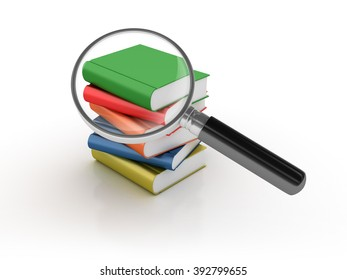 Books Search with Magnifying Glass - High Quality 3D Render