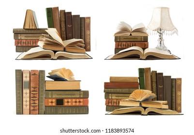 books shelf set isolated on white background