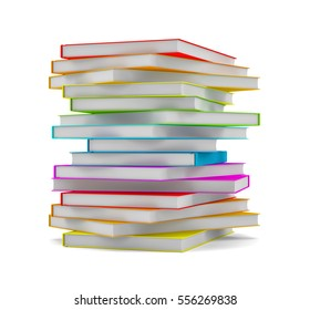 Books stack - isolated on white background. 3D illustration