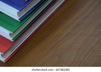 Books stacked on a table