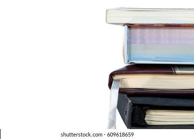 Books stacking isolated on white background.