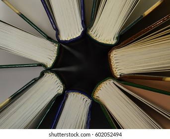 Books stuck in a circle on a white background