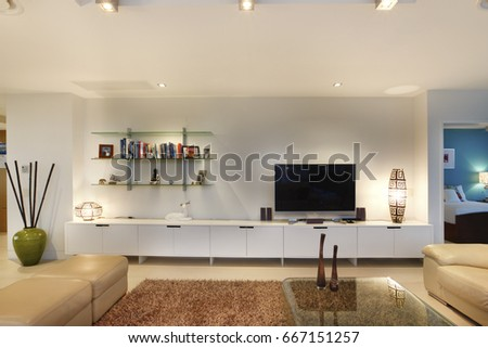 Books And Television In Living Room, Comfortable Furniture And Designs,  Walls Are White Color